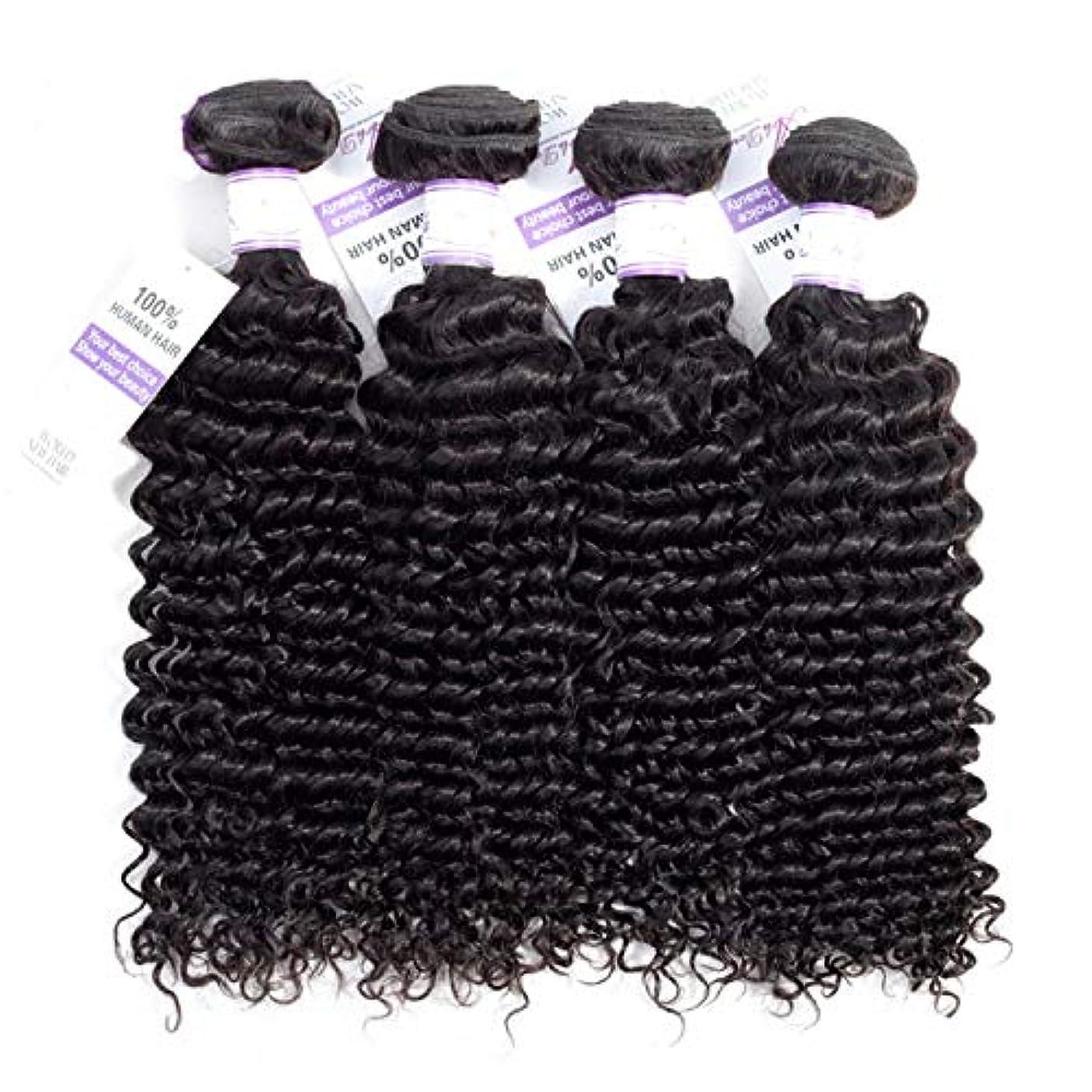 細部変換するネクタイマレーシアのディープウェーブヘアバンドル8-28インチ100%人毛織りレミーヘアナチュラルカラー4個 (Stretched Length : 10 12 14 14)