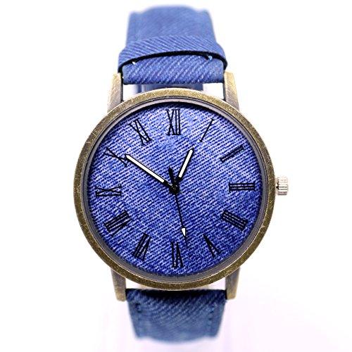 ZooooM デニム 風 デザイン 腕時計 ファッション アクセサリー カジュアル フォーマル 文字盤 ( ブルー ) ZM-DENITOKE-BL