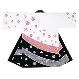 【よさこい衣装・袢纏・法被】長袢天 白/黒 桜 B9012