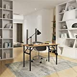 Need Folding Desk for Home Office 100cm Length Modern Folding Table Computer Desk No Install Needed Teak Color Desktop Black Frame AC5BB(10060)