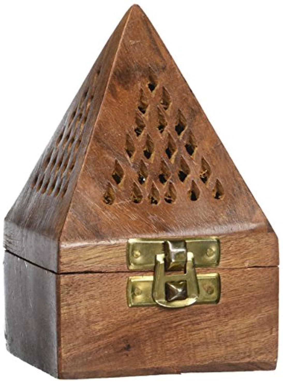胚従来のペインギリッククリスマスまたはThanks Giving Dayギフト、木製クラシックピラミッドスタイルBurner、Dhoopホルダーwith Base正方形とトップ円錐形状Dhoopホルダー、メジャー7.5インチ