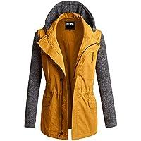OLLIE ARNES Women's Versatile Utilitarian Warm Anorak Drawstring Parka Jacket L95_Mustard M