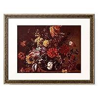 Picard, Jean Michel,1600-1682 「Blumenstrauss in einer Glasvase auf einem Holztisch.」 額装アート作品