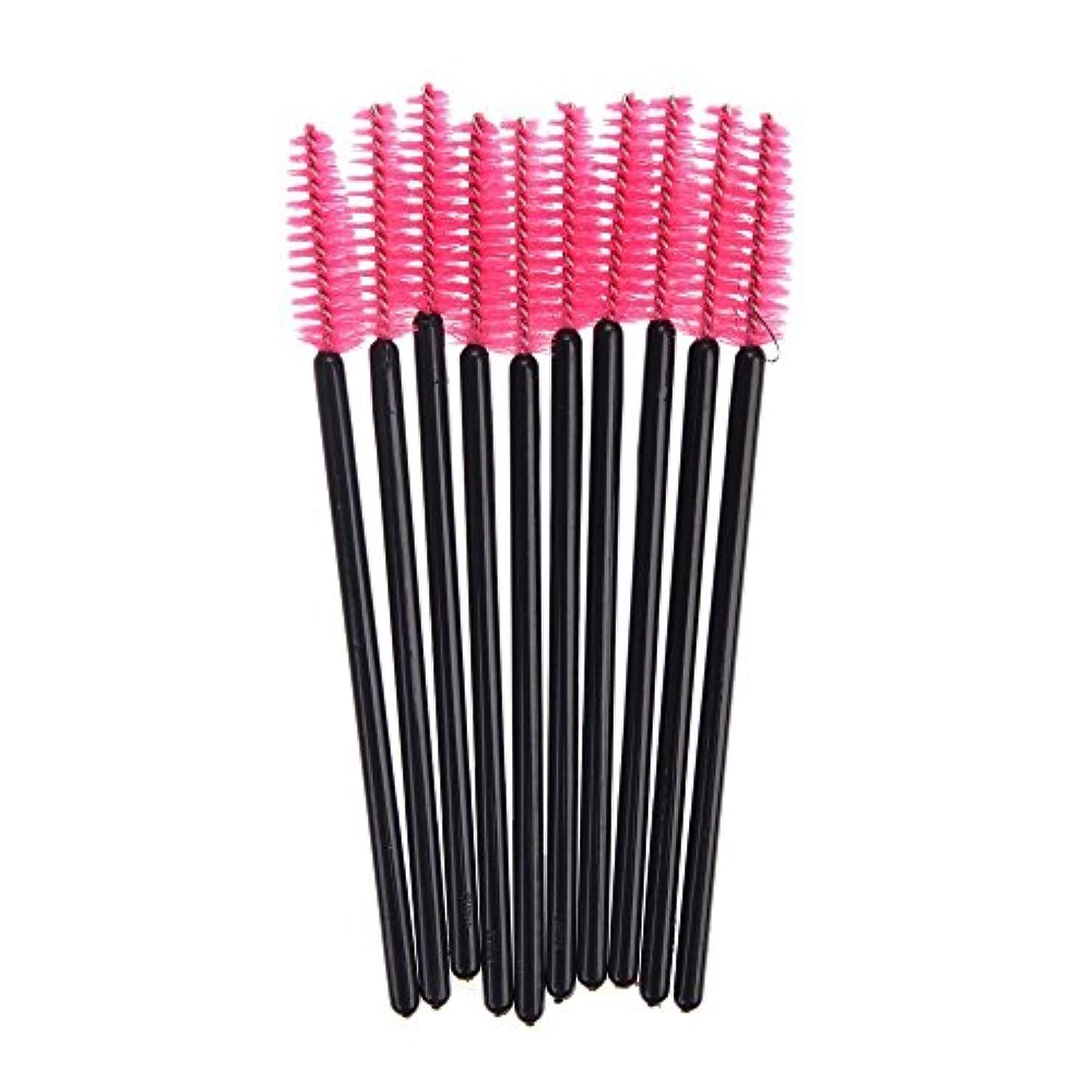 ナチュラル気性に付けるRETYLY 100 使い捨て ミニ アイラッシュブラシ マスカラ 杖 まつげ メイク 高品質 ピンク