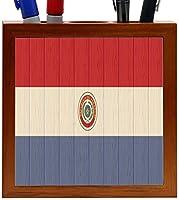 Rikki Knight Paraguay Flag on Distressed Wood Design 5-Inch Wooden Tile Pen Holder (RK-PH8768) [並行輸入品]