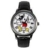 ディズニー 腕時計 スワロフスキー 腕時計 ブラック シリアルナンバー入 ミッキー 腕時計メンズ ミッキーマウス ウォッチ メンズ レディース 世界限定品 (本革ブラック) [並行輸入品]