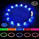 LED光る首輪, USB 再充電 ドッグ カラー 12個のLEDライト 500m先から目視可能 ペット 夜間 安全性 3種類のライトモードを搭載 防水 スモール ミディアム ラージ 複数色ご用意 (グリーン)