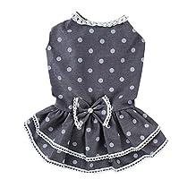 小さな犬のウェディングドレスちょう結びスカートグレーMのためのZALINGラブリーサマードッグドレスペット犬の服