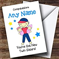 Big Brother新しいBaby Twin Sisters Girls Personalized兄弟Greetingsカード