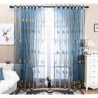 ブルー 遮像レースカーテン 夜も透けにくいミラーレース 花柄 刺繍 ラーレースカーテン UVカットミラーカーテン 1組2枚入り (幅150cmx丈270cm)