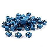 uxcell 端子台 ターミナルブロック スクリューターミナルブロック 端子 コネクタ ブルー プラスチック 5mm 300V 16A 50個入り