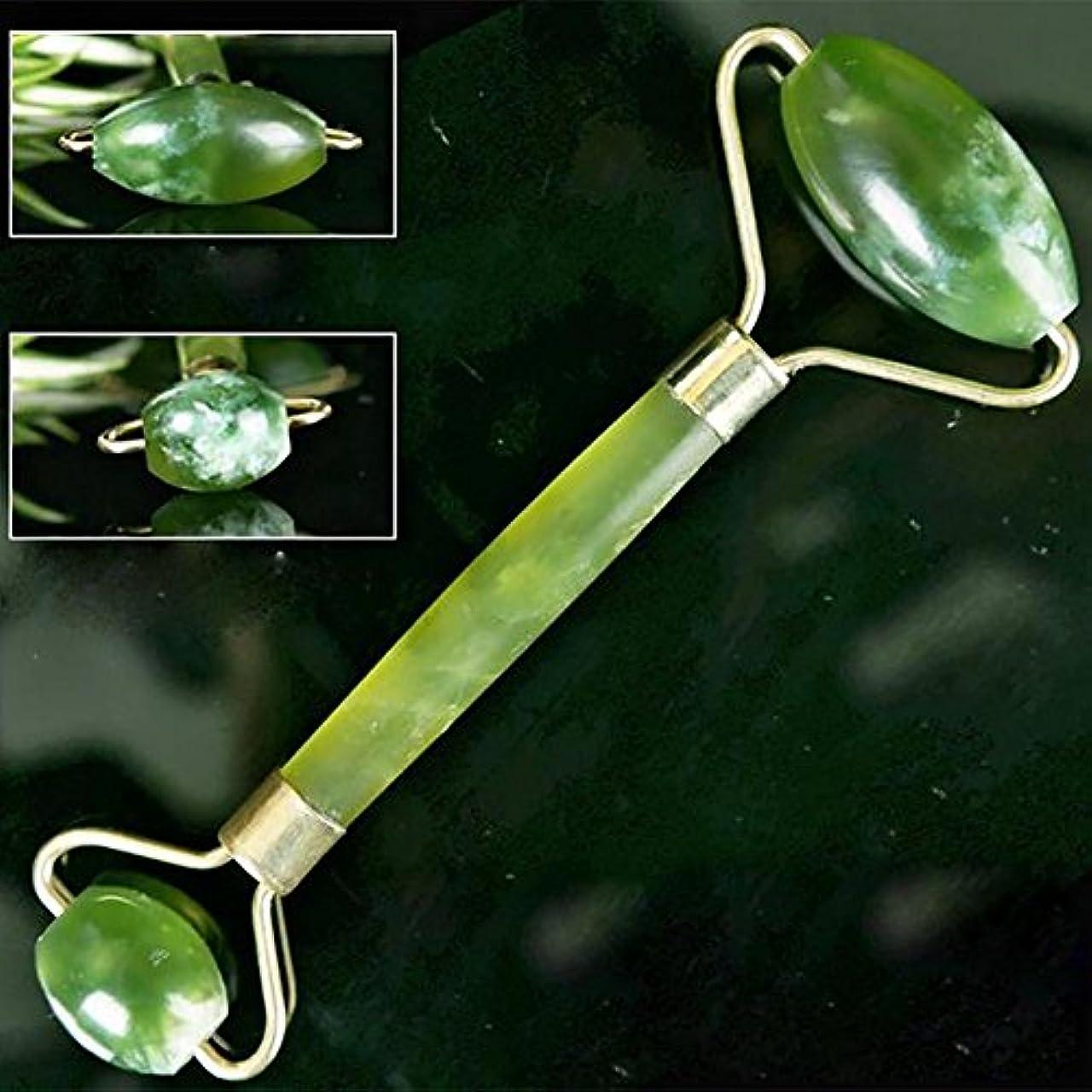 解釈的気がついて経験者Echo & Kern 翡翠ローラーフェイスマッサジローラーGreen Crystal Double head Jade Roller