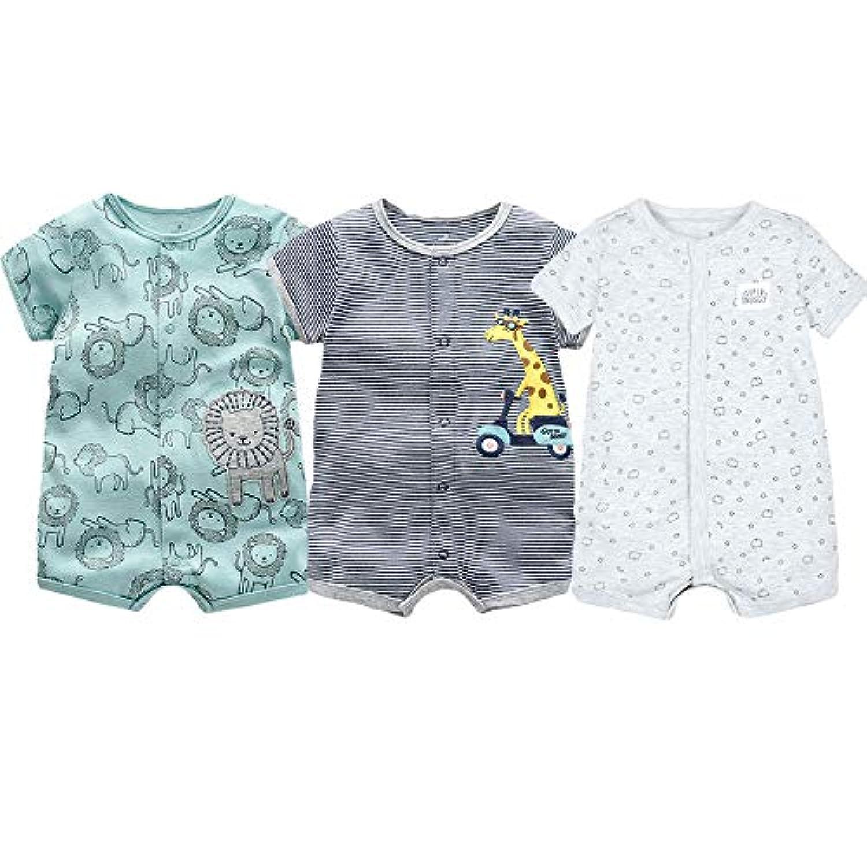 夏 半袖ロンパース 赤ちゃん 綿 コットン 3枚組 前開きタイプ Baby ベビー服 肌着パジャマ カバーオール 女の子 可愛いプリント 北欧スタイル イエロー キリン 6-9M