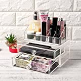 Home Living Beauty Makeup Organizers - 22 and 14 Compartments, 3 Tier, 4 Drawers Acrylic Cosmetic Holders Racks Stand for Lip Sticks Brushes Nail Polishes Blush On Creams Bracelets Watches - Clear Transparent - 6 Designs (14 Compartment Makeup Organizer)