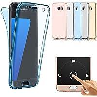 Shanenshop Samsung Galaxy S7 クリアーケース 360度全面保護 Note8 カバー 耐衝撃吸収 バンパー 耐擦り傷 防塵 防指紋 超薄い 一体感 滑り止め 透明 ソフト TPU シリコン 軽量(ブルー)