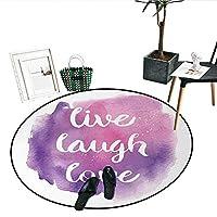 """Live Laugh Love ノンスリップラウンドラグ ヴィンテージ インスピレーション カラフルなライブ 笑いと愛 異なるデザイン ソフトエリアラグ (直径24インチ) マルチカラー D32""""/0.8m"""