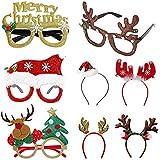 BLUBOON ファンシー クリスマス フォトブース 小道具 ヘッドバンド メガネフレーム 8パック おもしろホリデーパーティーハット セット 子供 大人用