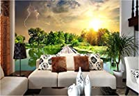 Mbwlkj 3Dステレオ写真の壁紙自然の壁絵のリビングルームの装飾の寝室のテレビの背景の壁の壁画の日の出の風景壁紙-250Cmx175Cm