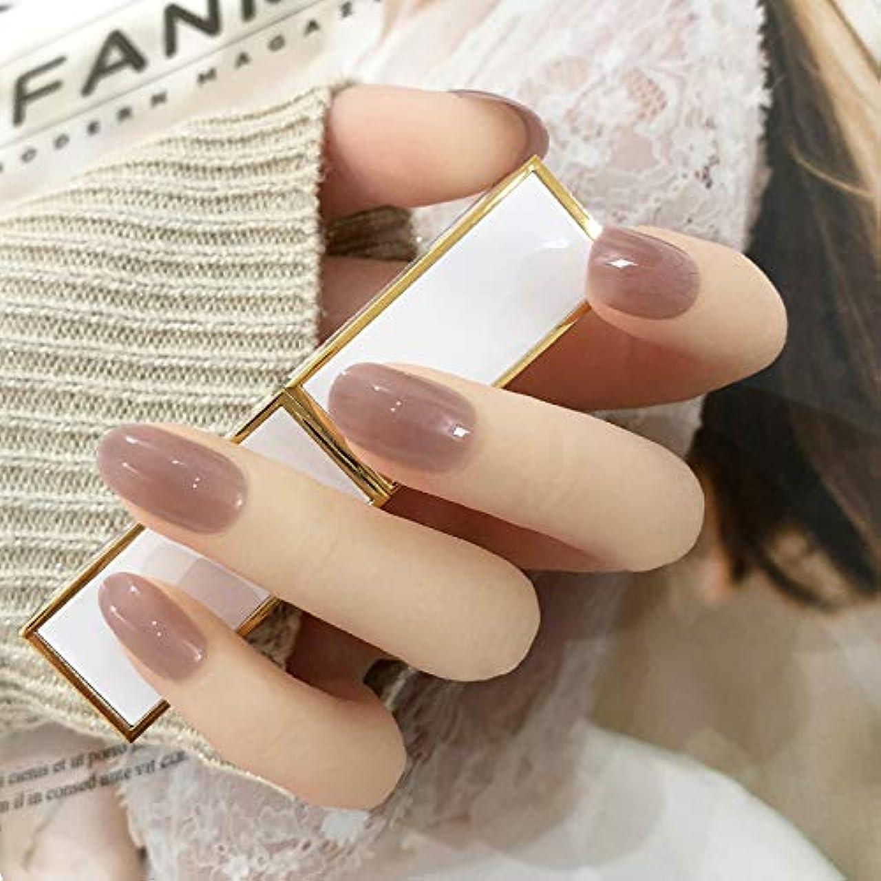 デマンド不従順迫害する24枚純色付け爪 ネイル貼るだけネイルチップ お花嫁付け爪 (グレーピンク)