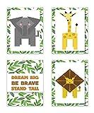 ジャングル動物、Jungle Buddies印刷で、フラワープリント、Dream Big Wall Sign、子供赤ちゃん保育園壁飾り用寝室装飾キッズポスター引用アートワーク、4のセットPrints、象保育園 11×14 ホワイト COLganimAnixxxxxCV1114.m