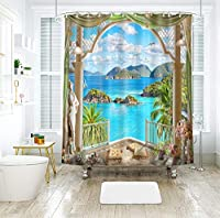 自然の風景印刷されたシャワーカーテン180×180cm防水とカビの証拠の風景装飾的な浴室バスカーテン12個のフックYL - 116 (Color : 5, Size : 180*180)