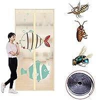 夏の防蚊昆虫飛んでいる昆虫のカーテン磁気カーテンの閉鎖ドア90 x 120 cm、90 x 150 cm、100 x 120 cm、120 x 100 cm,Beige,85*205cm