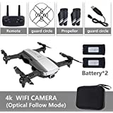 OUYAWEI Drone Drone x pro 5G Selfie WiFi FPV with 4K HD Dual Camera Foldable RC Quadcopter 4K Black 2 Battery