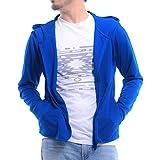 ティーシャツドットエスティー ラッシュガード ドライ 長袖 無地 薄手 ジップアップ フード付き UVカット 4.4oz メンズ ロイヤルブルー LL
