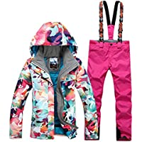 GsouSnow Women's Waterproof Windprooof Hooded Ski Suit Jackets Coat Bib Pants Removable Warm Rain Outdoor Insulated Winter Trousers