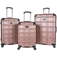 "Ben Sherman Nottingham 3-Piece Lightweight Hardside 4-Wheel Spinner Travel Luggage Set: 20"" Carry-On, 24"", 28"", Rose Gold"