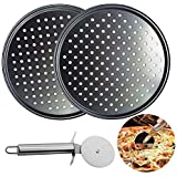 2pcs 12 Inch Pizza Pans Non-Stick Pizza Tray with 1 pcs Pizza Cutter