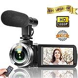 ビデオカメラ カムコーダー カメラ HD 1080P 30FPS 24.0MP 3インチLCD液晶画面 タッチスクリーン ナイトビジョン マイク付きカムコーダー マイク&リモコン付属