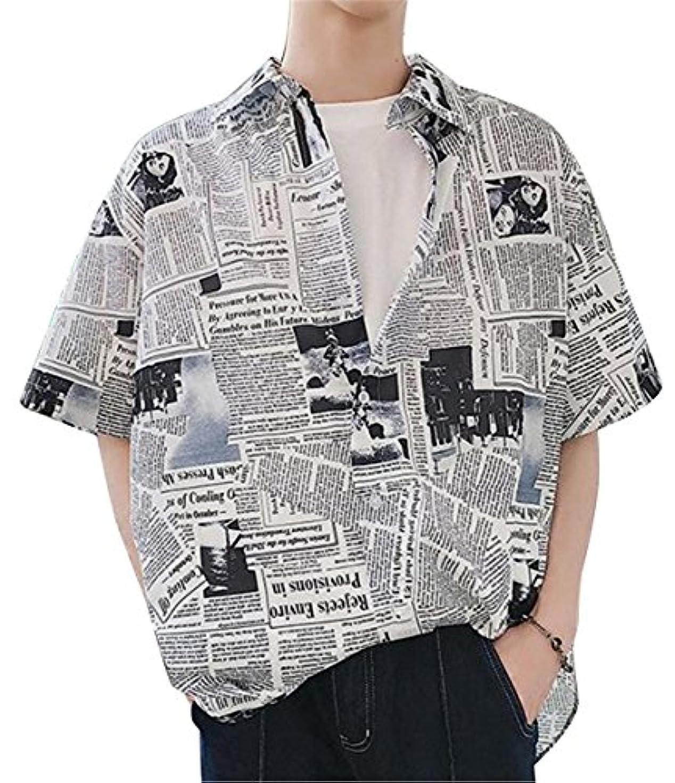 ゲートきらめく黒人[ジャンーウェ] メンズ プリントシャツ アロハシャツ 半袖 開襟 カジュアル 新聞柄 おしゃれ ゆったり