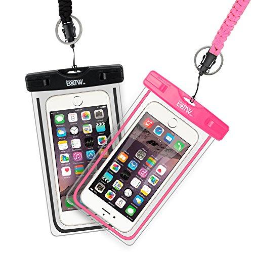 (二枚セット)EOTW®スマホ防水ケース 携帯防水ポーチ スマートフォン用防水カバー iPhone Sony Xperia 5.7インチ以下の携帯電話に対応 防水等級IPX8 (black+pink)