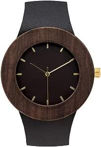 [アナログウォッチコー] 腕時計カーペンター ブラックウッド&黒色レザーバンド 正規輸入品