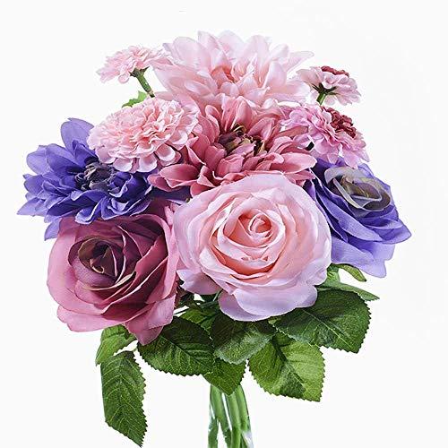 造花 枯れない花 ミニローズダリアバンチ(8本) 花束 インテリア造花 アートフラワー 薔薇 ダリア シルク製 母の日プレゼント お祝い 結婚式ブーケ バレンタインギフト 誕生日 母の日 (パープル)