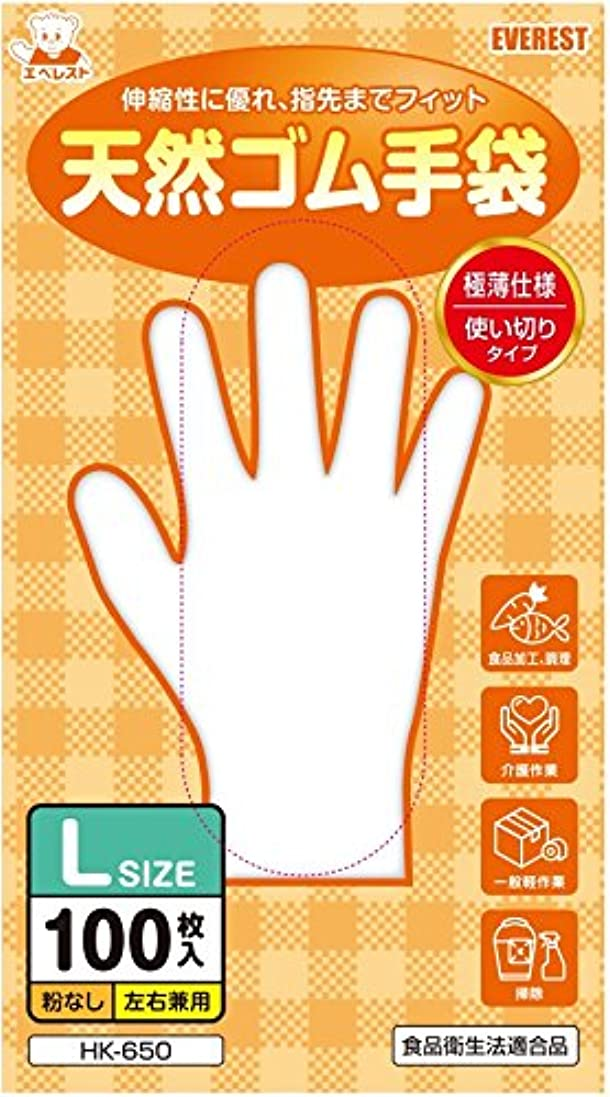 公平なパラダイス打撃天然ゴム手袋 100枚入 Lサイズ