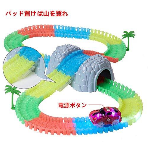 Liten レールセット 光るレースカー 子供おもちゃ 軌道車丘付き LED五つ内蔵し LED点滅 コースター お子様から大人まで遊べ レーストラックセット 男の子 おもちゃ
