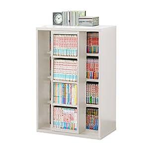 本棚 スライド書棚 スリム シングル スライド式本棚 木製 本棚 ブックシェルフ ラック コミック 文庫 収納 幅60cm (ホワイト)