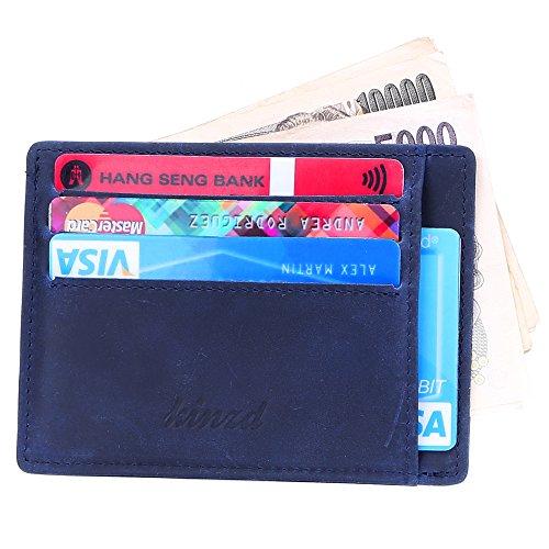 Kinzd® 牛革カードケース クレジットカード 身分証明書 復古風小さい財布 スリムウォレット 磁気防止紙幣入れ 薄い財布 (ダークブルー)