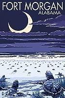 Fortモーガン、アラバマ–Sea Turtlesハッチング 9 x 12 Art Print LANT-51357-9x12
