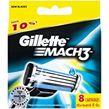Gillette Mach3 Men's Razor Blades Refill Cartridges, 8 Pack, Mens Razors/Blades