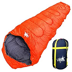 丸洗いOK White Seek 寝袋 シュラフ マミー型 耐寒温度 -15℃ コンパクト収納 オールシーズン (オレンジ)