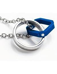 MAX World ネックレス メンズ サージカル ステンレス RING & SQUARE (ブルー)