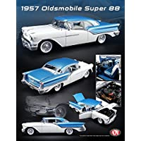 1957 Oldsmobile Super 88 Artesian Blue / VictoriaホワイトLimited Edition to 624 Pieces Worldwide 1 / 18 DiecastモデルCar by Acme a1808003