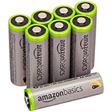 AmazonBasics AA High-Capacity Rechargeable Batteries (8-Pack) Pre-charged, Packaging May Vary