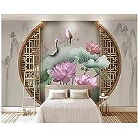 """中国風の窓の蓮の花と鳥の3D壁紙、リビングルームのソファテレビの壁の寝室のレストランの壁画シルクの布-300(W)x200cm(H)(9'2""""x5'11"""")フィート"""