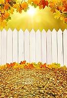 csfoto 3x 5ft背景for Maple Leavesホワイトフェンス写真バックドロップFallen Leaves美しい景色Sunshine Holidayハワイアンリゾート旅行子新生児Portrait Photo Studio Props壁紙