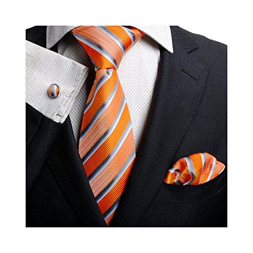 Landisun(レンディスン) 様様 ストライプ メンズ シルク ネクタイ セット:ネクタイ+ハンカチ+カフス (148x8.25cm, 14N オレンジ ブルー ホワイト)
