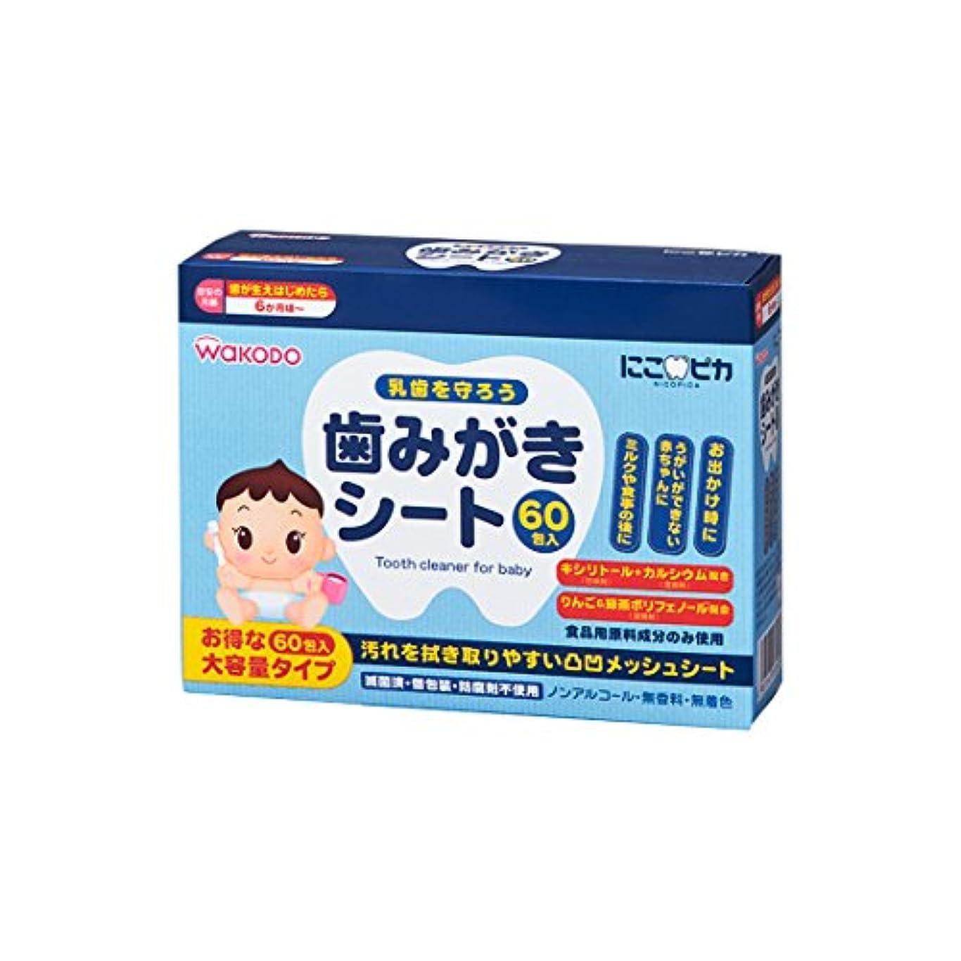 矢知恵フライト和光堂)にこピカ歯みがきシート(60包)